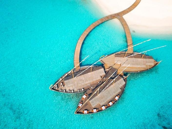 Milaidhoo Island Resort Luftaufnahme des Restaurants