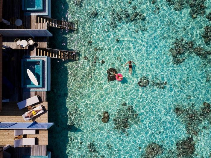 The Standard Malediven Wasservillen Luftaufnahme
