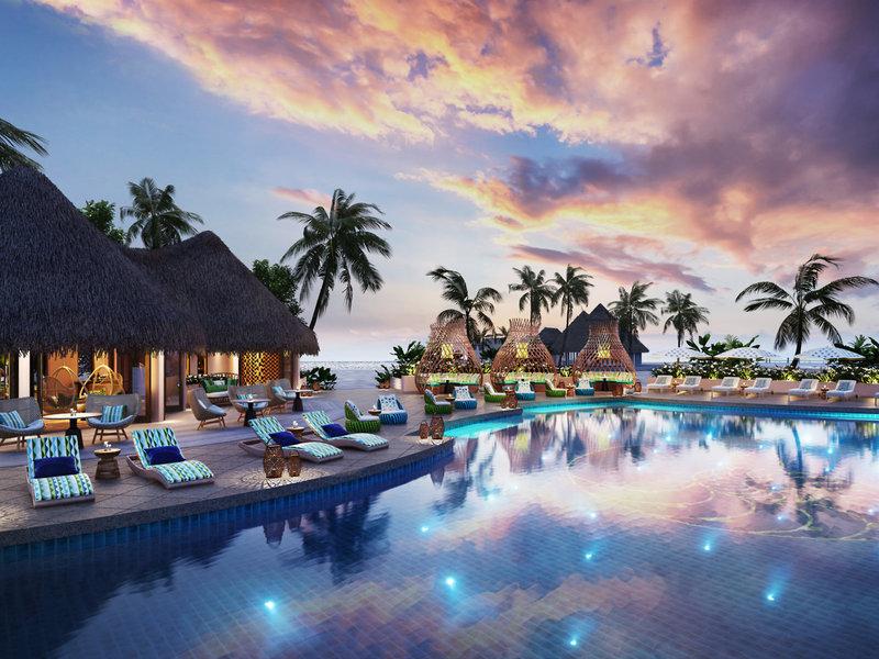The Nautilus Beach & Ocean House Malediven - Abends am Pool bei Sonnenuntergang