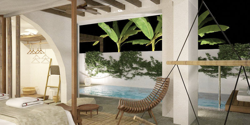 Lindian Village Rhodos - Wohnbeispiel mit Terrasse und private Pool bei Nacht