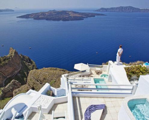 Adamant Suites Santorin - Im Hotel auf Ausguck auf das wunderbare Meer vor Santorin