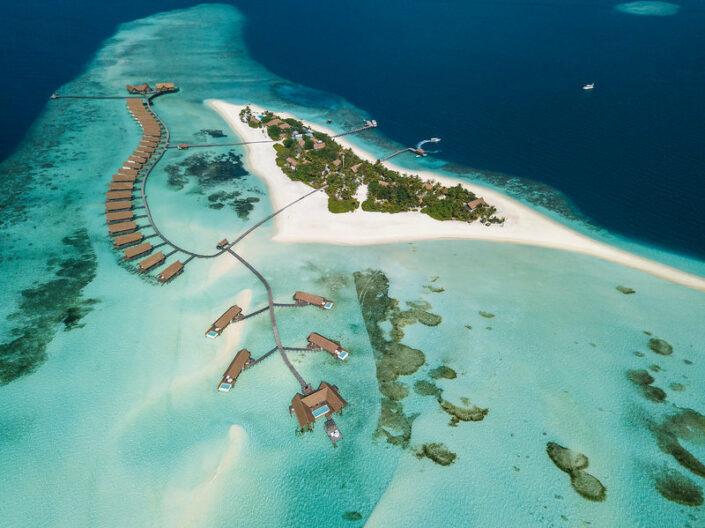 Blick über die Insel aus der Vogelperspektive