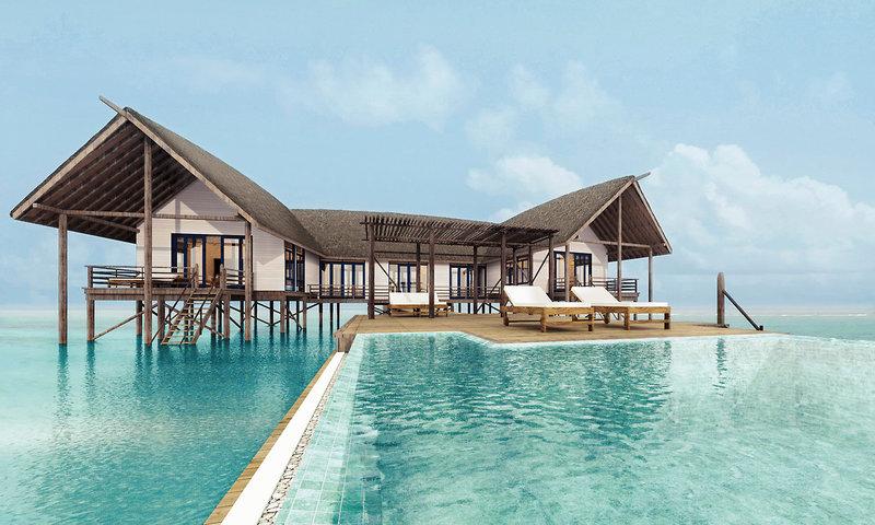 Wunderbarer Blick aus dem private Pool auf eine Villa