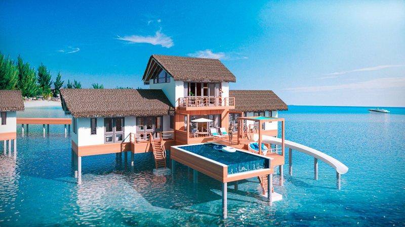 Cora Cora Malediven - Wohnbeispiel mit Pool Terrasse und Wasserrutsche