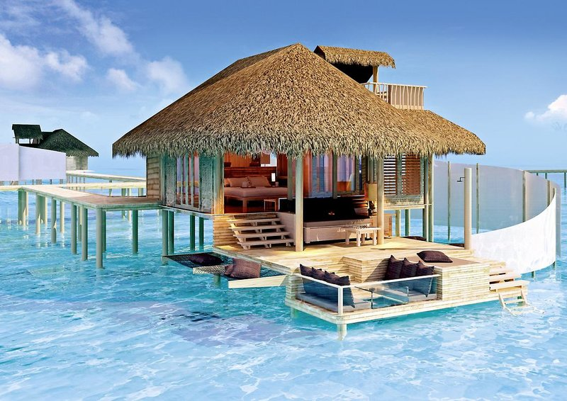 Six Senses Laamu Malediven - Wohnbeispiel mit Terrasse und Meeressitz